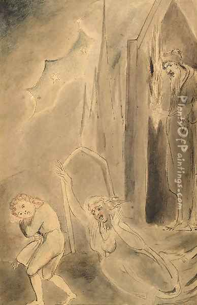 Churchyard spectres frightening a schoolboy Oil Painting - William Blake