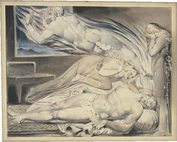 Death Of The Strong Wicked Man Oil Painting - William Blake