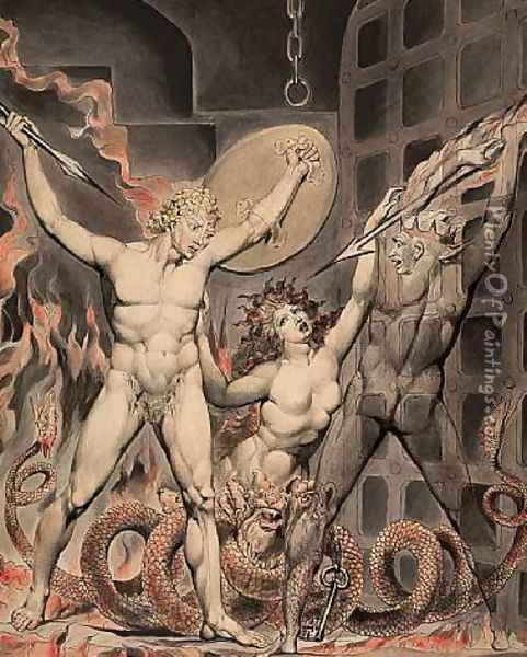Satan, Sin, and Death- Satan Comes to the Gates of Hell Oil Painting - William Blake