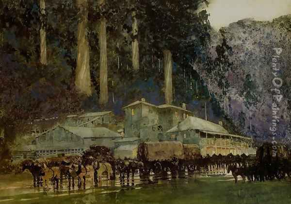 When the Horse Team Came to Walhalla Oil Painting - William Blamire Young