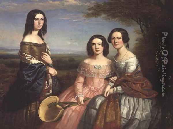 Group portrait of three girls in a landscape Oil Painting - William Bliss Baker
