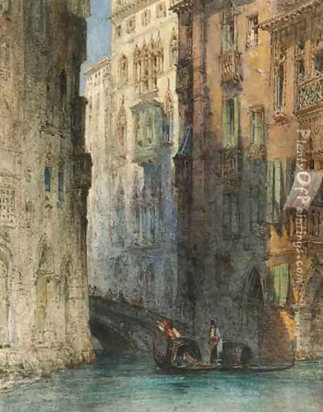 A gondola on a Venetian canal, Italy Oil Painting - William Callow