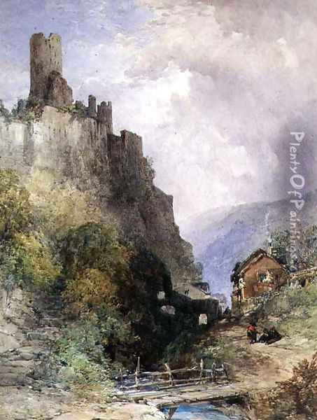 The Castle of Katz on the Rhine Oil Painting - William Callow