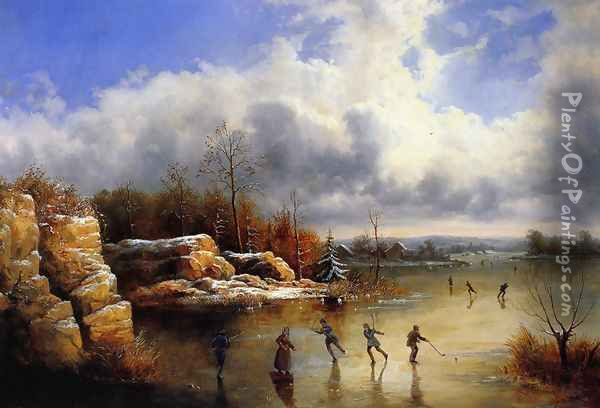 Ice Skating Oil Painting - William Charles Anthony Frerichs