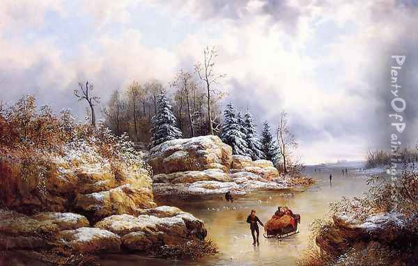 Skating in Winter Oil Painting - William Charles Anthony Frerichs