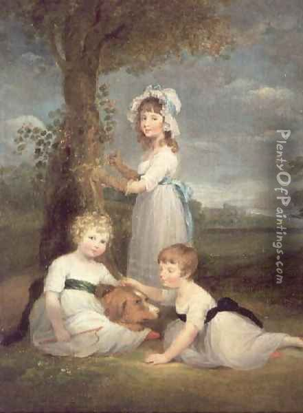 The Earl of Lincoln, Lady Anna Maria and Lady Charlotte Pelham Clinton, the Children of the 4th Duke of Newcastle Oil Painting - William Collins