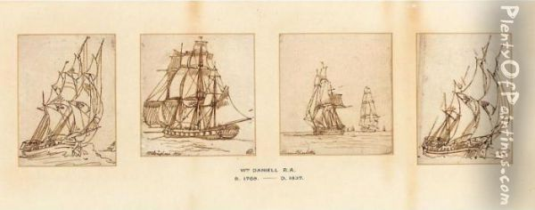 Studies Of Flagships Oil Painting - William Daniell RA