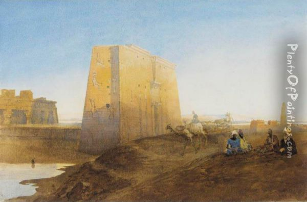 Arabs By The Ruins At Luxor Oil Painting - William Edward Dighton