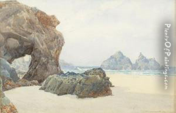 Rock Arch On A North Cornish Beach Oil Painting - William Edwards Croxford