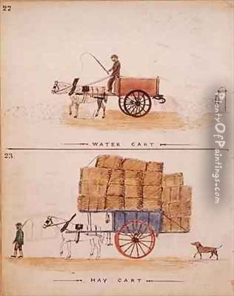 The Water Cart and the Hay Cart Oil Painting - William Francis Freelove