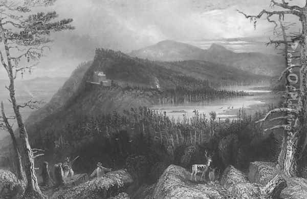 The Two Lakes and the Mountain House on the Catskills, 1838 Oil Painting - William Henry Bartlett