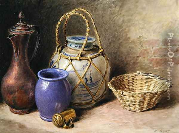 Still Life with Ginger Jar Oil Painting - William Henry Hunt
