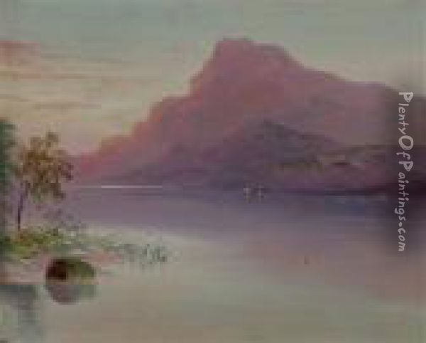 Morgenstimmung Am Bergsee Oil Painting - William Henry Mander