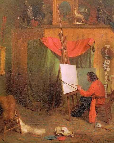 Self-Portrait in the Studio 1860s Oil Painting - William Holbrook Beard