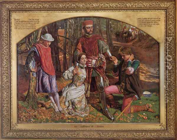 Valentine Rescuing Sylvia from Proteus Oil Painting - William Holman Hunt