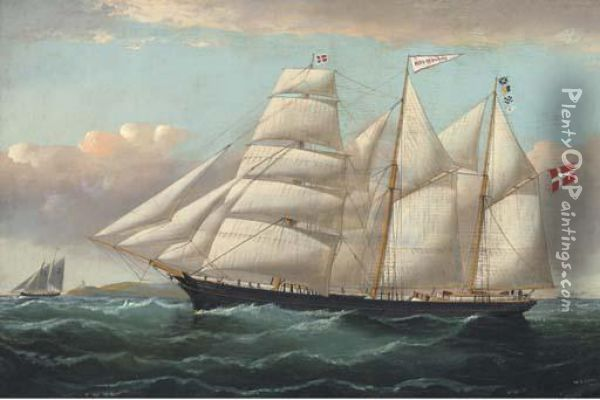 A Pilot Cutter Running Out To Meet The Danish Barquentine Motahermanos Oil Painting - William Howard Yorke