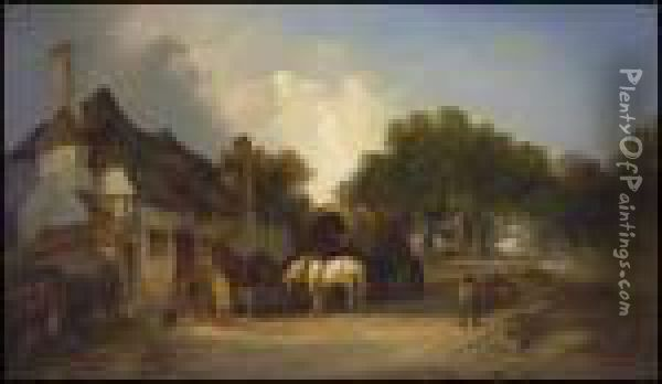 An Old Village Inn On The Outskirts Of Epping Forest Oil Painting - William Joseph Shayer