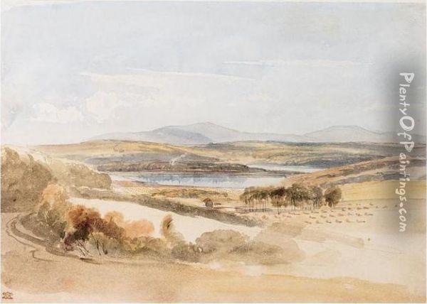 View Of A Loch And Mountains, Kirkcudbrightshire Oil Painting - William Leighton Leitch