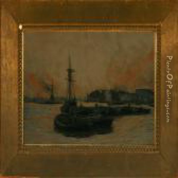 Coal Barges At Rotherhithe, London Oil Painting - William Lionel Wyllie