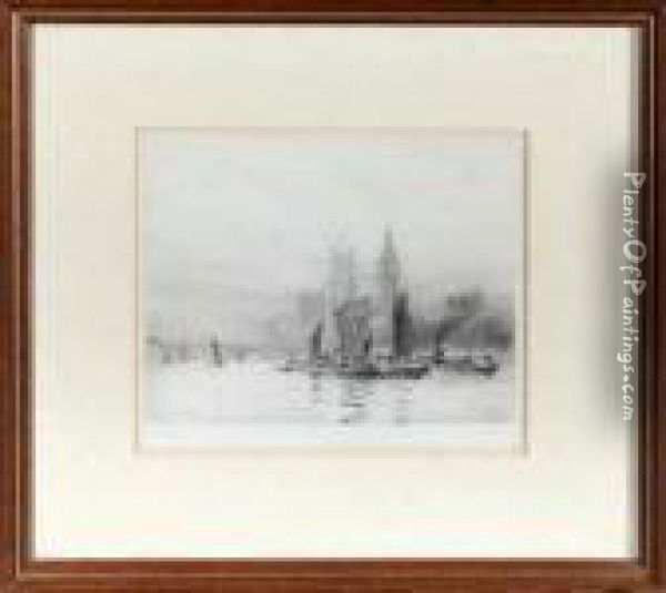 Thames Barges Beside The Houses Of Parliament Oil Painting - William Lionel Wyllie