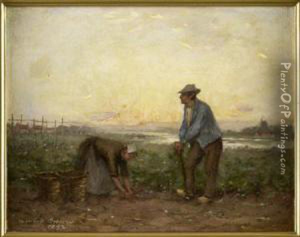 Potato Pickers Oil Painting - William Mason Brown