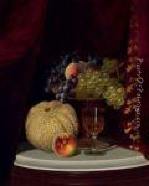 Still Life With Melon, Peach,  Fruit-filled Compote And Glass Of Wine On A Marble Table Top Oil Painting - William Mason Brown