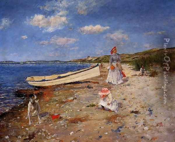 A Sunny Day at Shinnecock Bay Oil Painting - William Merritt Chase