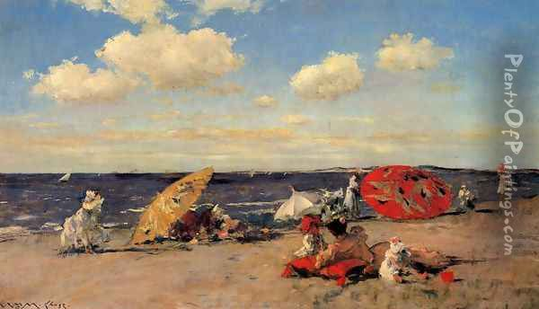 At The Seaside Oil Painting - William Merritt Chase