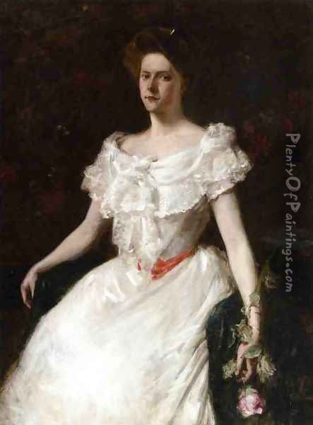Lady With A Rose Oil Painting - William Merritt Chase