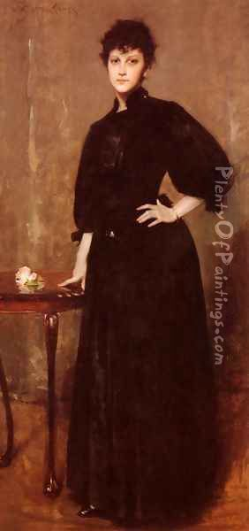 Portrait of Mrs. C. (or Lady in Black; Portrait of a Lady in Black) Oil Painting - William Merritt Chase