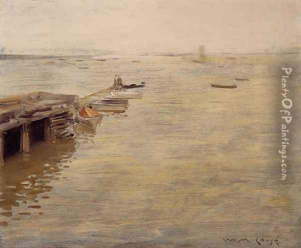 Seashore (or A Grey Day) Oil Painting - William Merritt Chase