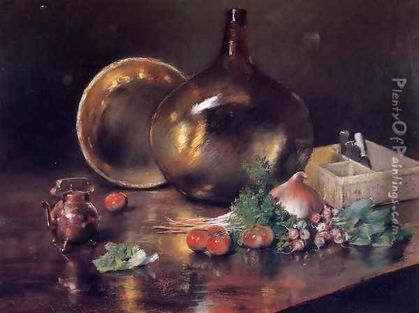 Still Life (Brass And Glass) Oil Painting - William Merritt Chase