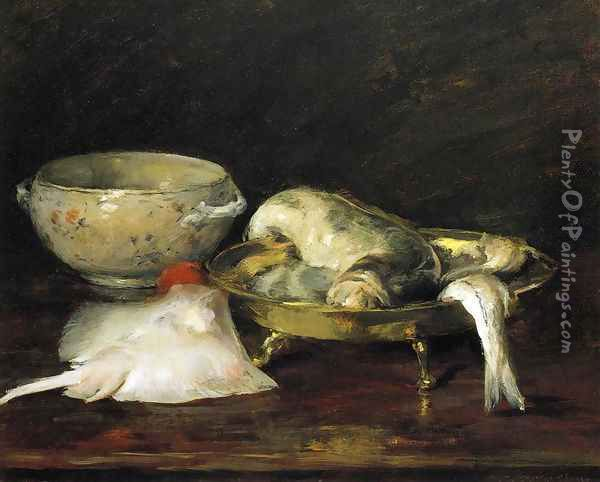 Still Life with Fish II Oil Painting - William Merritt Chase