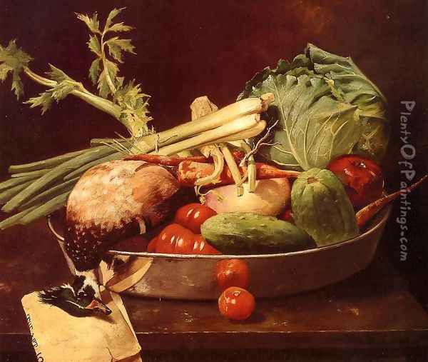 Still Life with Vegetables Oil Painting - William Merritt Chase