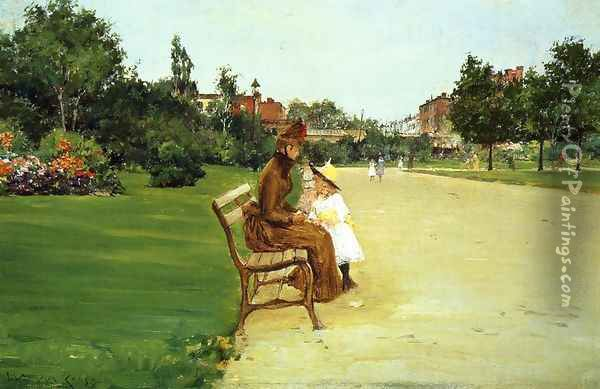 The Park (or In Tompkins Park) Oil Painting - William Merritt Chase