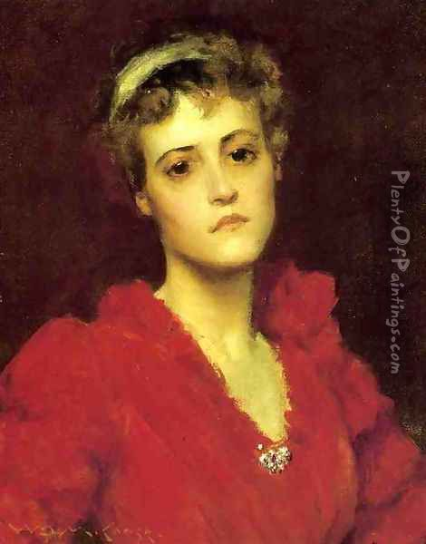 The Red Gown Oil Painting - William Merritt Chase
