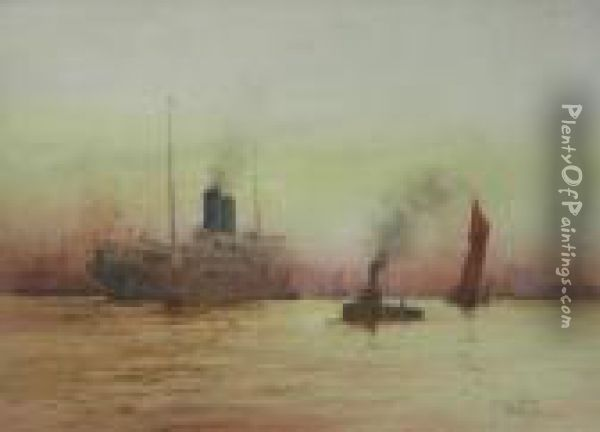 The Arrival, Off Tilbury Oil Painting - William Minshall Birchall