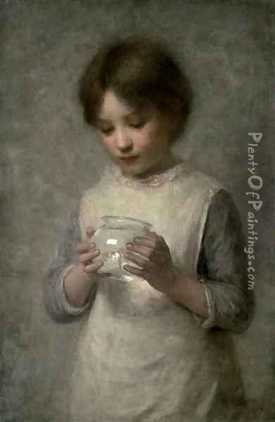 Girl with a Silver Fish, 1889 Oil Painting - William Robert Symonds