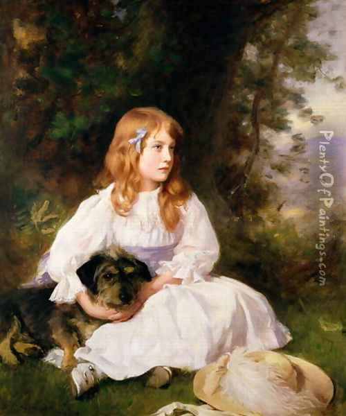 Heather, portrait of a girl Oil Painting - William Robert Symonds