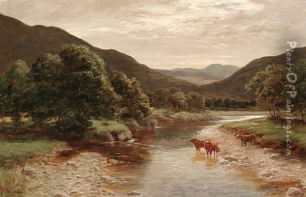 Cattle In A River Landscape Oil Painting - William Scott Myles