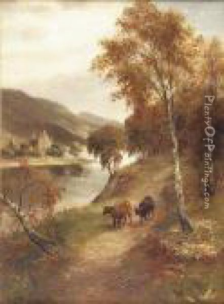 Cattle On A Path By A River Oil Painting - William Scott Myles