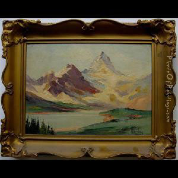 Mount Assiniboine - Canadian Rockies; Yoho Glacier - Yoho Valley -canadian Rockies Oil Painting - William Stanley