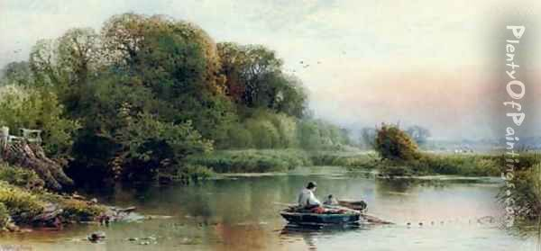 A river landscape at dusk with young anglers dragging in their nets Oil Painting - William W. Gosling