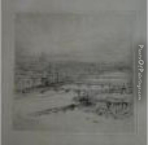 An Aerial View Of London And The Thames Oil Painting - William Walcot