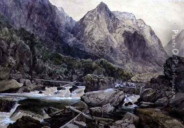 Rapids, Romsdal, Norway, 1847 Oil Painting - William West