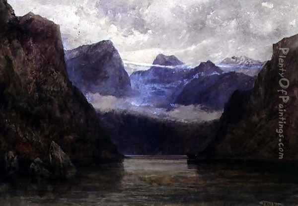 Romsdal Fjord at Midnight, 1847 Oil Painting - William West
