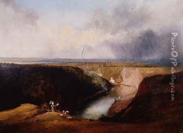 View of the Avon Gorge from Observatory Hill, c.1830 Oil Painting - William West