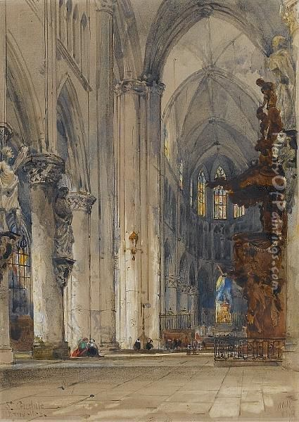 Interior Of St. Gudule, Brussels Oil Painting - William Wyld