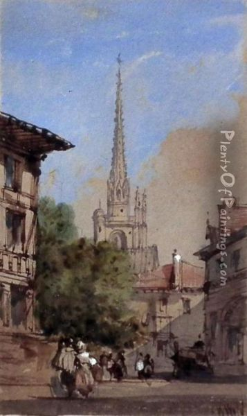 View Of Continental Town With Church To Background Oil Painting - William Wyld
