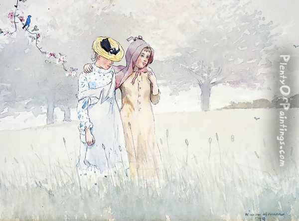 Girls Strolling in an Orchard Oil Painting - Winslow Homer